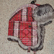 Womens Eddie Bauer Red Plaid Fur Trim S/m Quilted Lined Winter Hat Ear Flaps Photo