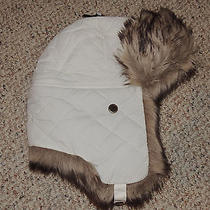 Womens Eddie Bauer White Fur Trim S/m Quilted Lined Winter Hat Ear Flaps Photo