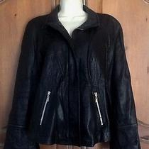 Womens Elements Black 100% Lamb Leather Zip Front Long Sleeve Lined Jacket M Photo