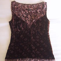 Womens Elie Tahari Top Size Xs Vneck Sleeveless Purple Floral Layered Silk Blend Photo