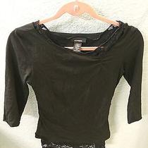 Womens Express Black Shirt With Lace Underlay Xs Photo