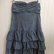 Womens Express Blue Chambray Strapless Dress Size Medium M  Photo
