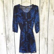 Womens Express Blue Floral Button Down Belted 3/4 Sleeve Dress Size  Xs Photo