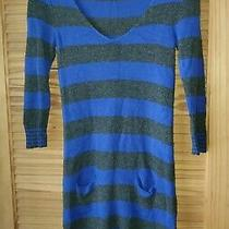 Womens Express Blue & Gray Striped Sweater Dress- Pullover- Wool Blend- Size Xs Photo