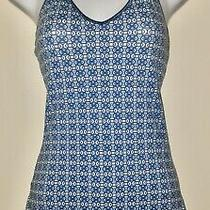 Womens Express Brand Blue and White Drawstring Halter Top Size Xs Preowned Photo