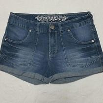Womens Express Denim Jeans Shorts Cuff Bottom Whisker Front Size 6 Stretch  Photo