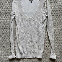 Womens Express Ivory Long Sleeve v Neck Sweater Size Small Photo