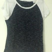 Womens Express Large L T-Shirt Gray White Thin Cap Sleeves Photo