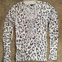 Womens  Express   Leopard Print v-Neck Cotton Sweater  Sz M Photo