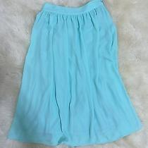 Womens Express Mint Green Flowy High Waist Mid Calf Full Summer Skirt Sz 0 Photo