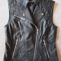 Womens Express Minus the Leather Faux Leather Sleeveless Vest Jacket Small S Nwt Photo