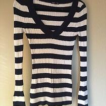 Womens Express Navy Blue White Striped Pullover Sweater Size Medium Photo