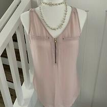 Womens Express Pink Blush Tank Top Gold Zipper Trim Size Small Photo