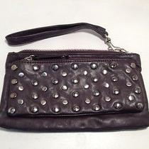 Womens Express Purple Plum Zip  Wristlet -Wallet  W / Silver Studs Cc-B2 Photo