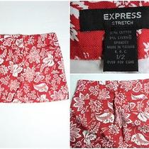 Womens Express Red Floral Stretch Skirt Size 1/2 Photo