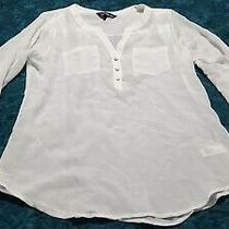 Womens Express Sheer 3/4 Sleeve v Neck 3 Button Blouse Size Xs White Photo