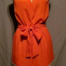 Womens Express Sleeveless Belted Dress Size Xs Orange and Tan With Pockets Photo