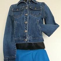 Womens Express Small Button Down Long Sleeve Blue Denim Biker Jeans Jacket Coat Photo