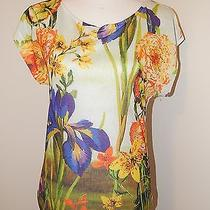Womens Express Summer Bright Floral Short Sleeve Scoop Neck Summer Top Xs  Photo