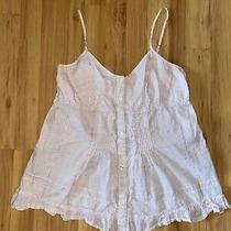 Womens Express Summer Striped Ruffled Babydoll Cami Shirt - Size Large Photo