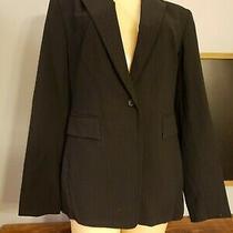 Womens Express Sz 5/6 Stretch Black Dress Blazer Jacket Pinstriped Button  Photo
