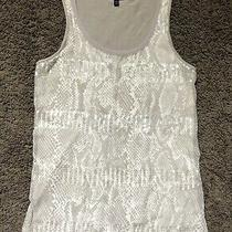 Womens Express Tank Top Shirt Size Small Sequins Snake Skin Tan Brown Sparkle Photo