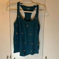 Womens Express Teal Floral Embellished Racerback Tank Top Size Xsmall Euc Photo