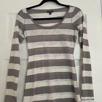 Womens Express Top Gray and White Stripe Size Xs Photo