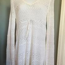 Womens Express White Crochet Long Sleeve Top Vneck M Euc Photo