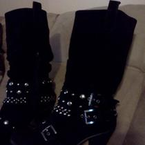 Womens Fidelia Black Imitation Suede Boots With Decorative Buckles Size 6 Photo