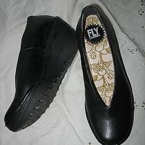 Womens Fly London London Black Leather Wedge Shoes Size 37 7 M Photo