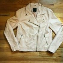 Womens Forever 21 Blush Pink Faux Leather Moto Jacket Sz M  Photo