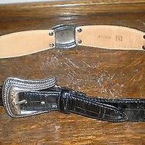 Womens Fossil Bt2069  Sz Small Black Silver Leather Belt   28 in Waist Photo