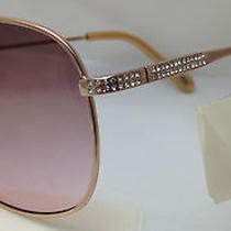 Womens Fossil Fw4 Sunglasses Rose Gold Frame Crystal Accents Pink Lens 59-12-138 Photo