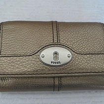 Womens Fossil  Gold Metallic Leather Wallet Nwot Photo