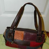 Womens Fossil Leather Multi Patchwork Brown Purse Euc Photo