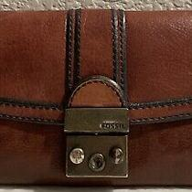 Womens Fossil Long Live Vintage Clutch Wallet Whiskey Brown Photo