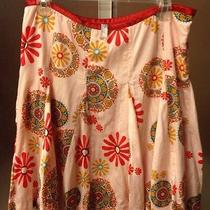 Womens Fossil Skirt Floral Pink Red Turquoise Size 8 Knee Length Bright Colorful Photo