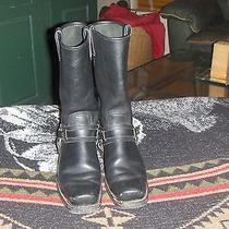Womens Frye Black Leather Harness Biker Boots Size 9.5m Photo