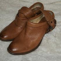 Womens Frye Brown Tan Distressed Leather Mules W/ Belted Harness Size 8.5 Photo