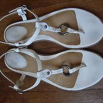 Womens Frye Carson O-Ring White Leather Ankle Strap Sandals Size 7 1/2m Photo