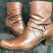 Womens Frye Harness Heel Ankle Boot Booties Side Zip Brown Sz 9 B Photo