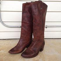 Womens Frye Jackie Button Leather Riding Western Boot Brown Size 8 Euc 388 Photo
