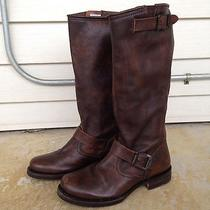 Womens Frye Veronica Slouch Leather Riding Western Boot Brown Size 7.5 Euc 328 Photo