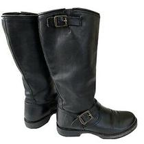 Womens Frye Veronica Tall  Black Leather Slouch Motorcycle Boots Sz 8 B 77605 Photo
