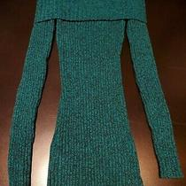 Womens G by Guess Long Sleeve Off Shoulder Sweater Size Small Green and Black Photo