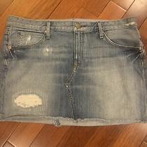 Womens Gap 1969 Distressed Stonewash Denim Jean Mini Skirt Size 10 Photo