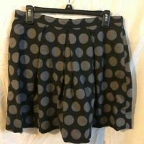 Womens Gap Black Gray Polka Dot Pleated Flared Short Mini Skirt Size 8 Photo