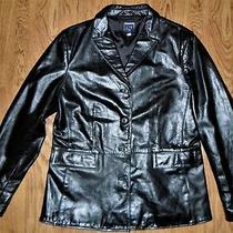 Womens Gap Black Leather Fashion Blazer Jacket Large 4 Button Collard 2 Pocket Photo