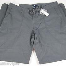 Womens Gap Dark Cast Iron Blue Flax Linen Cotton Tie Msrp 50 Pants Size 14r Nwt Photo
